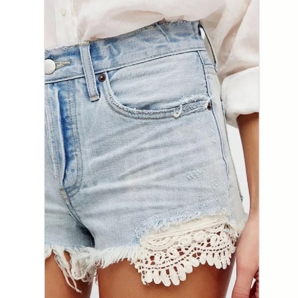 Free People Daisy Chain Shorts Relaxed Light Blue